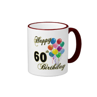 Happy 60th Birthday Gifts and Birthday Apparel Ringer Mug