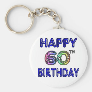 Happy 60th Birthday Gifts in Balloon Font Basic Round Button Keychain