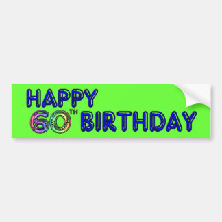 Happy 60th Birthday Gifts in Balloon Font Bumper Sticker