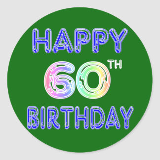 Happy 60th Birthday Gifts in Balloon Font Classic Round Sticker