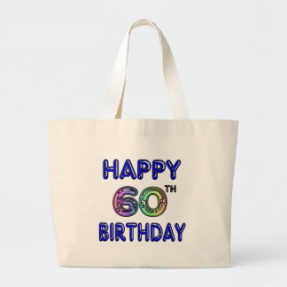 Happy 60th Birthday Gifts in Balloon Font Large Tote Bag