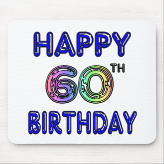 Happy 60th Birthday Gifts in Balloon Font Mouse Pad