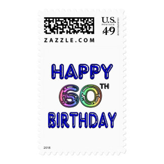 Happy 60th Birthday Gifts in Balloon Font Postage Stamp