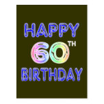 Happy 60th Birthday Gifts in Balloon Font Postcard