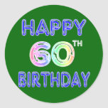 Happy 60th Birthday Gifts in Balloon Font Stickers