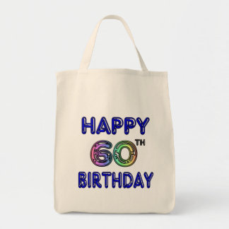 Happy 60th Birthday Gifts in Balloon Font Tote Bag
