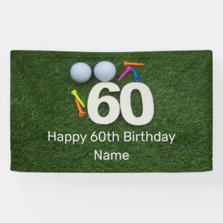 Happy 60th Birthday Golfer with golf ball and tees Banner