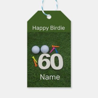Happy 60th Birthday Golfer with golf ball and tees Gift Tags