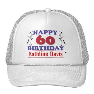 Happy 60th Birthday Mesh Hats