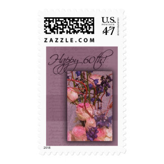 Happy 60th Birthday in pink and purple Postage