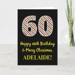[ Thumbnail: Happy 60th Birthday & Merry Christmas, Custom Name Card ]