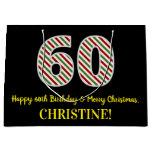 [ Thumbnail: Happy 60th Birthday & Merry Christmas, Custom Name Gift Bag ]