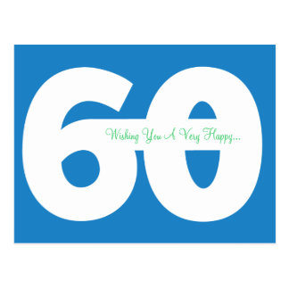 Happy 60th Birthday Milestone Postcards - in Blue