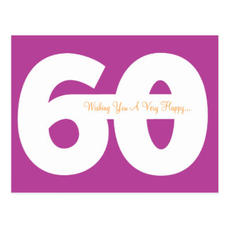 Happy 60th Birthday Milestone Postcards - Magenta
