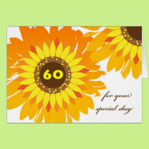 Happy 60th Birthday, Sunflowers Design Card