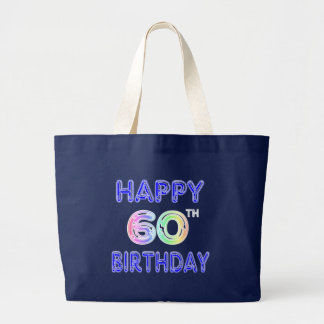 Happy 60th Birthday Tote Bag in Balloon Font