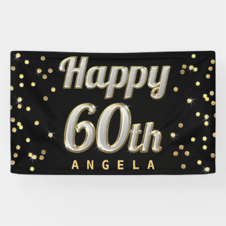 Happy 60th Bling Typography Gold Confetti Black Banner