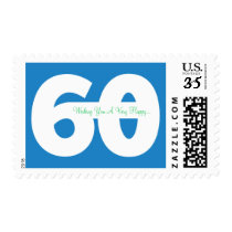 Happy 60th Milestone Birthday Stamps - in Blue