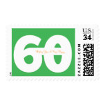 Happy 60th Milestone Birthday Stamps - in Green