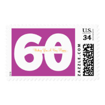 Happy 60th Milestone Birthday Stamps -in Magenta