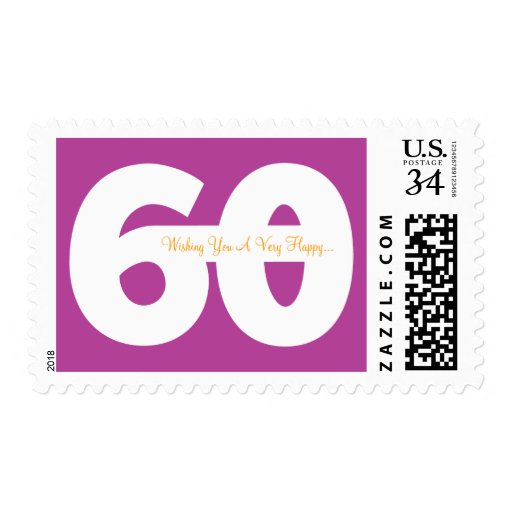 Happy 60th Milestone Birthday Stamps -in Magenta
