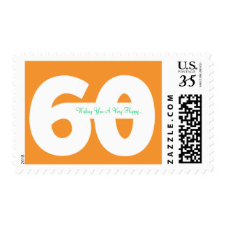 Happy 60th Milestone Birthday Stamps -in Orange