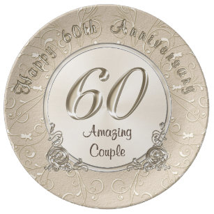 Happy 60th Wedding Anniversary Gifts CUSTOMIZABLE Dinner Plate