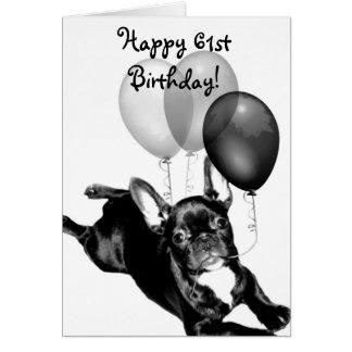 Happy 61st Birthday French Bulldog greeting card