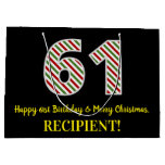 [ Thumbnail: Happy 61st Birthday & Merry Christmas, Custom Name Gift Bag ]