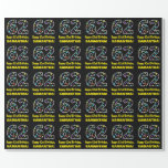[ Thumbnail: Happy 62nd Birthday, Fun Colorful Stars Pattern 62 Wrapping Paper ]