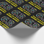 [ Thumbnail: Happy 63rd Birthday, Fun Colorful Stars Pattern 63 Wrapping Paper ]