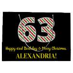 [ Thumbnail: Happy 63rd Birthday & Merry Christmas, Custom Name Gift Bag ]