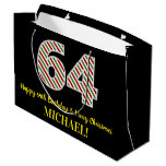 [ Thumbnail: Happy 64th Birthday & Merry Christmas, Custom Name Gift Bag ]
