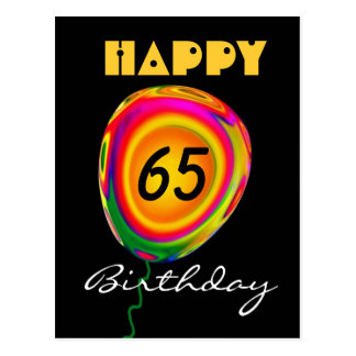 Happy 65 Birthday Colorful Gold Green Red Balloon Postcard