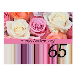 Happy 65th Anniversary roses Postcard