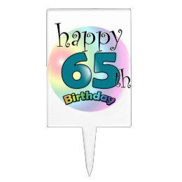 Happy 65th Birthday (blue) Cake Topper