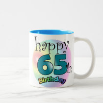 Happy 65th Birthday (blue) Two-Tone Coffee Mug