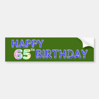 Happy 65th Birthday in Balloon Font Bumper Sticker