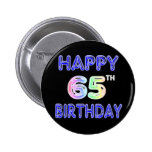 Happy 65th Birthday in Balloon Font Buttons