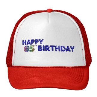 Happy 65th Birthday in Balloon Font Hat