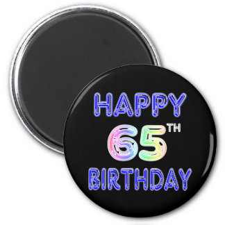 Happy 65th Birthday in Balloon Font Magnet