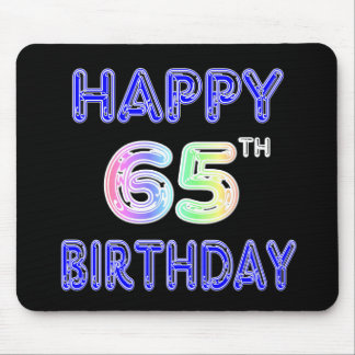 Happy 65th Birthday in Balloon Font Mouse Pad