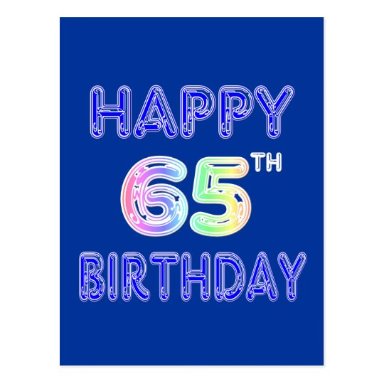 Happy 65th Birthday In Balloon Font Postcard