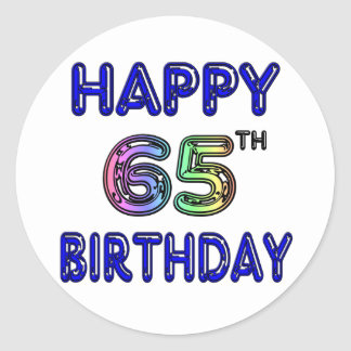 Happy 65th Birthday in Balloon Font Classic Round Sticker