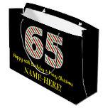 [ Thumbnail: Happy 65th Birthday & Merry Christmas, Custom Name Gift Bag ]