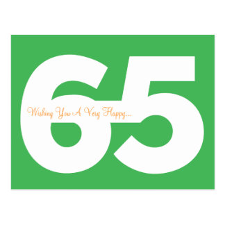 Happy 65th Birthday Milestone Postcards - in Green