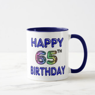 Happy 65th Birthday Mug in Balloon Font