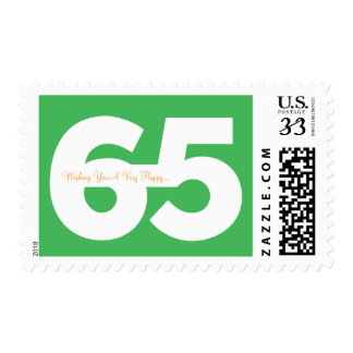Happy 65th Milestone Birthday Stamps - in Green