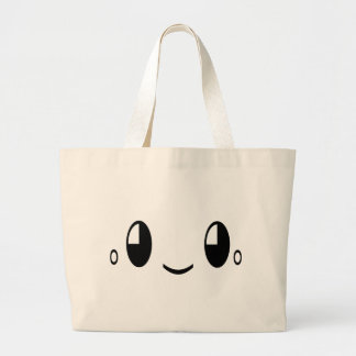 happy-667503 CARTOON SMILIE FACE HAPPY CUTE POSITI Large Tote Bag