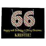 [ Thumbnail: Happy 66th Birthday & Merry Christmas, Custom Name Gift Bag ]